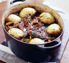 Chicken &  Red Wine Casserole with Herby Dumplings